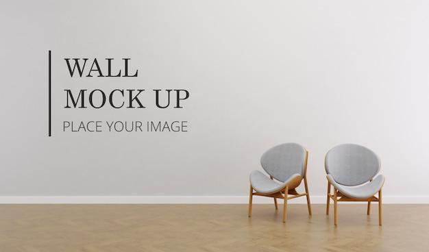 Пустая комната стены макет с деревянным полом и парой элегантный коричневый деревянный стул Premium Psd
