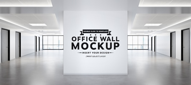 Blank squared wall in bright office mockup Premium Psd