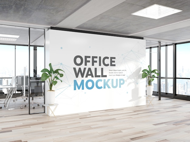 Blank wall in bright wood office mockup Premium Psd