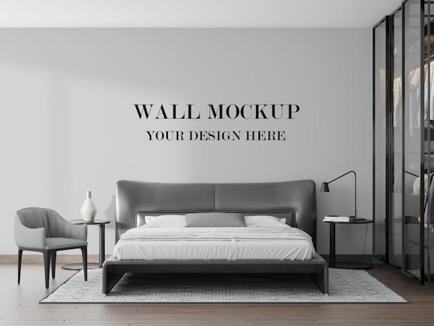 3dレンダリングで見事なモダンな黒と白の寝室の空白の壁 Premium Psd