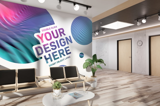 Blank wall in waiting room office mockup Premium Psd