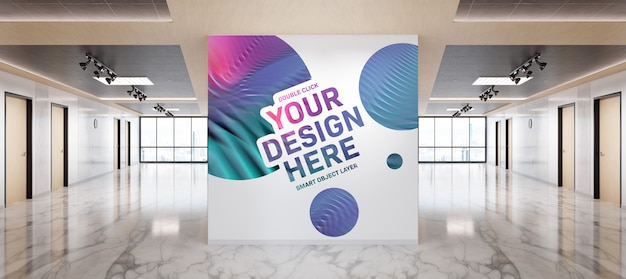 Blank wall in wood and marble office mockup Premium Psd