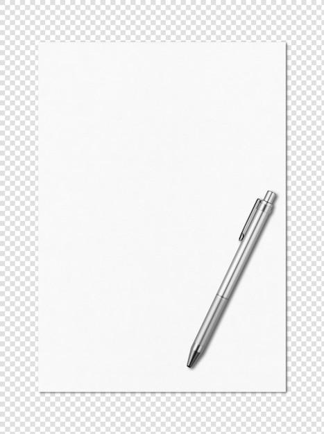 空白の白いa4用紙とペンモックアップテンプレート Premium Psd