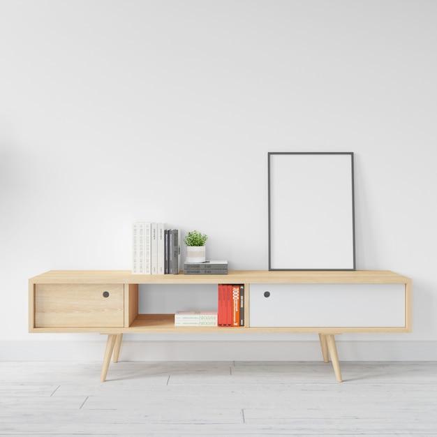 Modello bianco in bianco della struttura sulla tavola di legno Psd Gratuite
