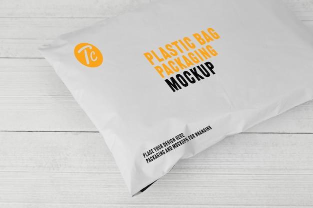 Пустой белый пластиковый пакет упаковки макет Premium Psd