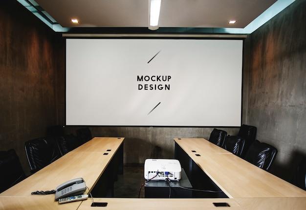 회의실에서 빈 흰색 프로젝터 스크린 모형 무료 PSD 파일