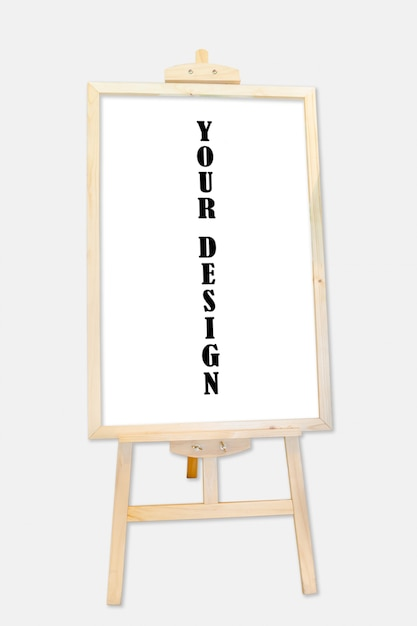 Blank wood frame outdoor stand mockup poster display on gray background Premium Psd