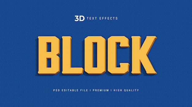 ブロック3dテキスト効果テンプレート Premium Psd