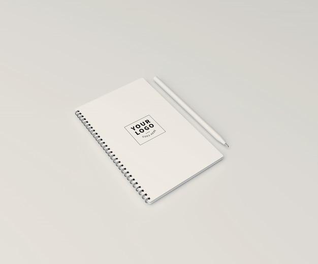 ペンでノートモックアップをブロック Premium Psd
