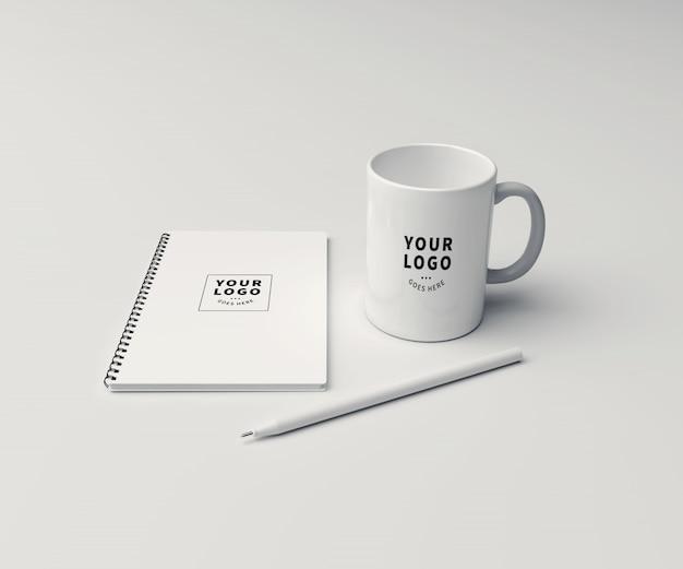 Block note with coffee mug mockup Premium Psd