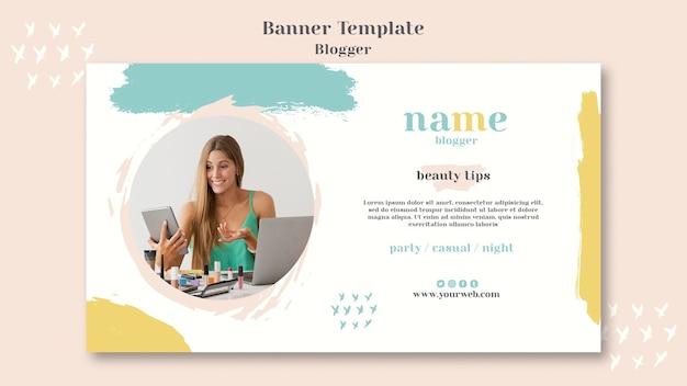 Blogger concept banner design Psd Gratuite