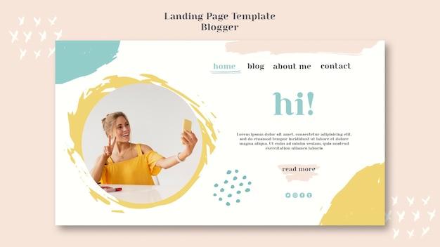 Stile della pagina di destinazione del concetto di blogger Psd Gratuite