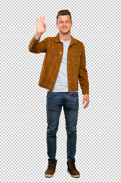 Blonde handsome man happy and counting three with fingers Premium Psd