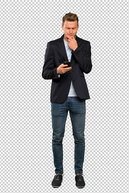 Blonde handsome man thinking and sending a message Premium Psd
