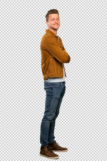 Blonde handsome man with arms crossed and looking forward Premium Psd