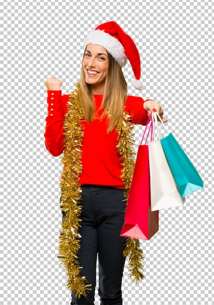 Blonde woman dressed up for christmas holidays Premium Psd