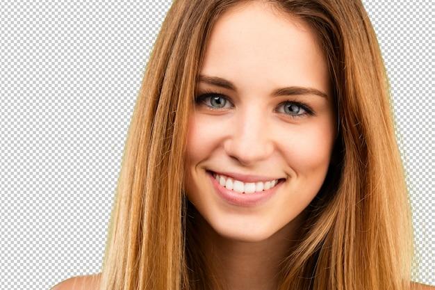 Blondy girl face close up Premium Psd