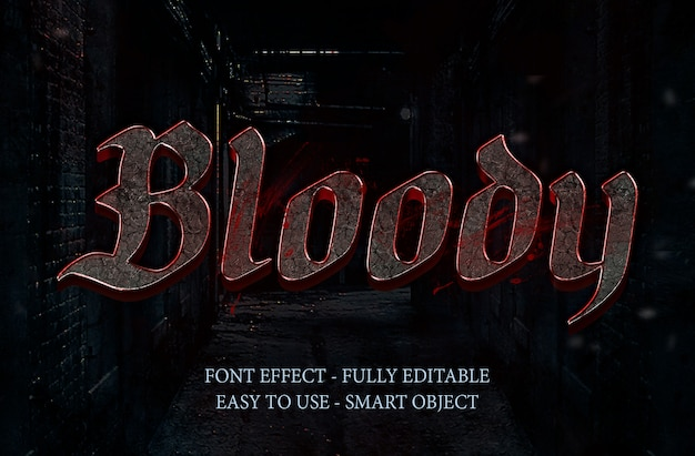 Blood stone 3d font effect and metal effect Premium Psd