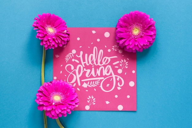 Blooming flowers and greeting card Free Psd
