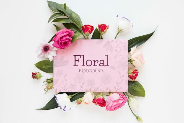 Blooming flowers with greeting card Free Psd