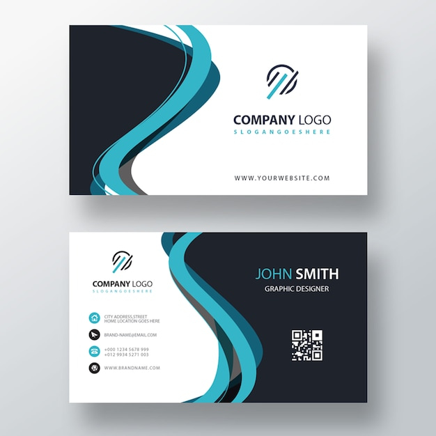 Blue abstract shape business card template | Free PSD File