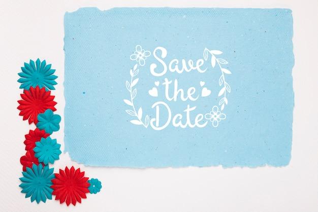 Синие и красные цветы сохраняют макет даты Бесплатные Psd