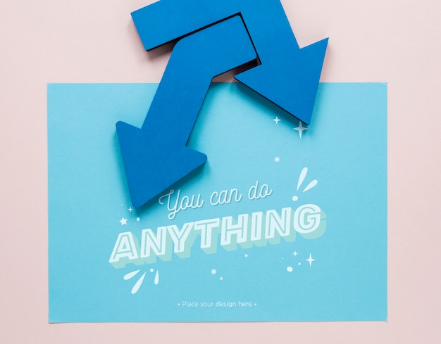 Blue arrows with you can do anything lettering Free Psd