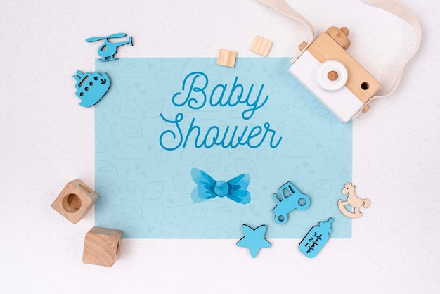 Blue baby shower decorations with camera Free Psd