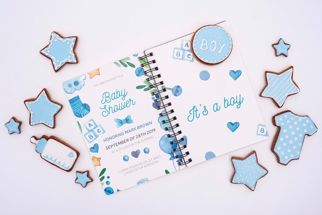 Decorazioni per baby shower blu Psd Gratuite