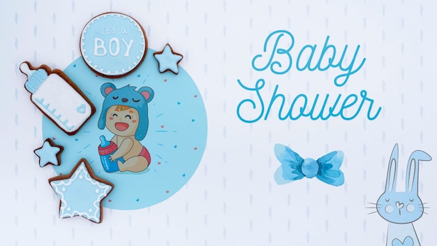 Blue baby shower decorations Free Psd