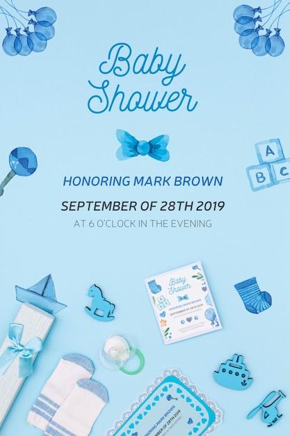 Invito dell'acquazzone di bambino blu con decorazioni Psd Gratuite