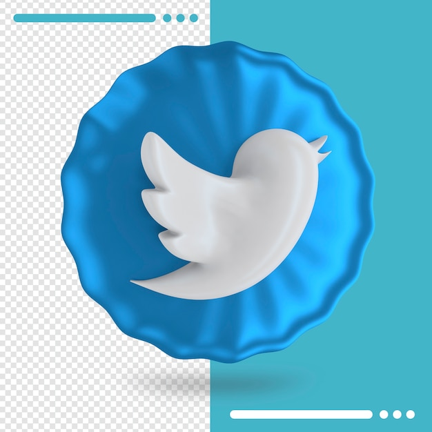 Blue balloon and logo of twitter 3d rendering Premium Psd