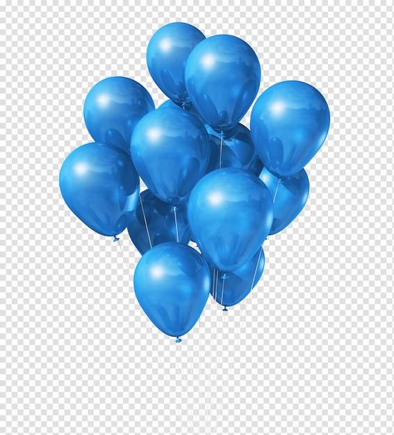 Blue balloons floating Premium Psd