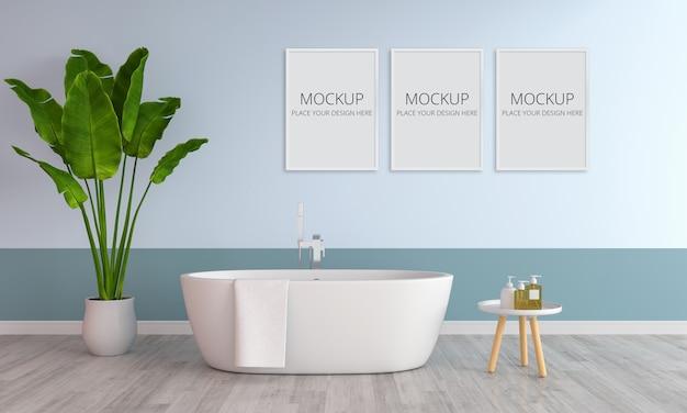 Синий интерьер ванной комнаты с рамным макетом Premium Psd