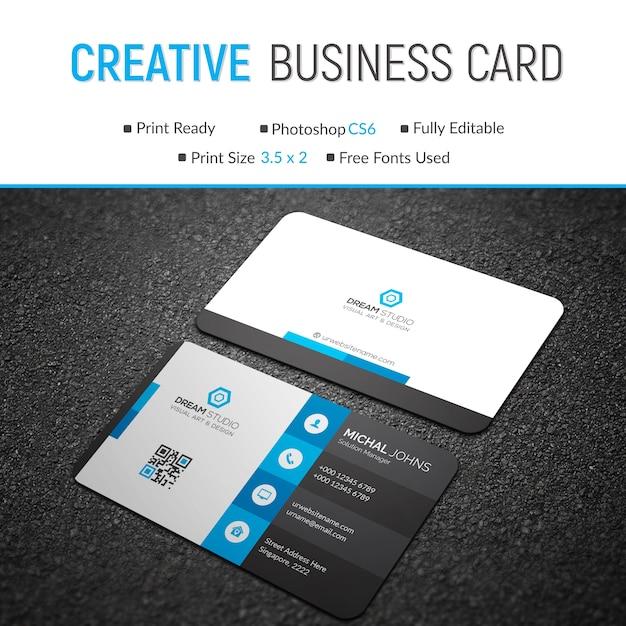 Blue and black business card mockup Premium Psd