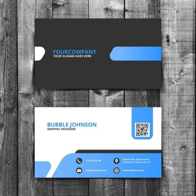 Blue and black business card Free Psd