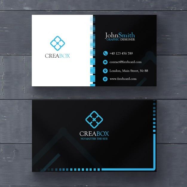 Blue and black geometric card Free Psd