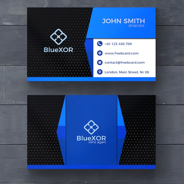 Blue And Black Modern Business Card Psd File Free Download