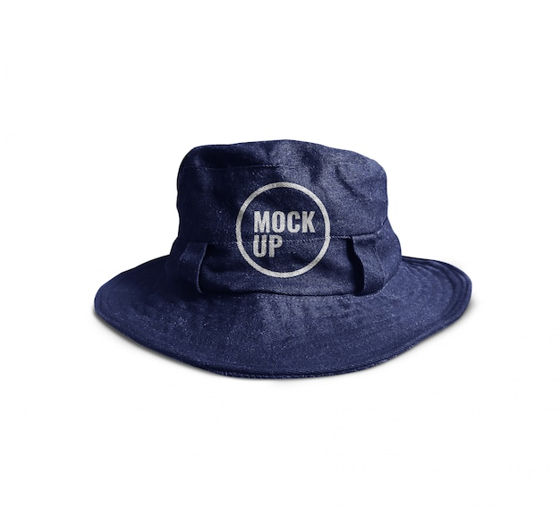 現実的な青いバケツの帽子のモックアップ Premium Psd