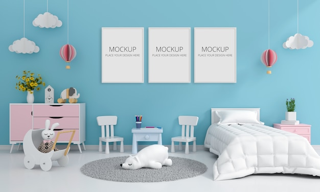 Blue child bedroom interior for mockup, 3d rendering Premium Psd