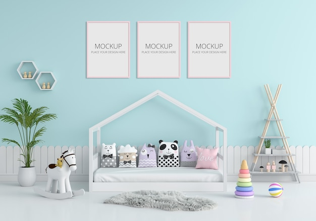 Blue child bedroom interior for mockup Premium Psd