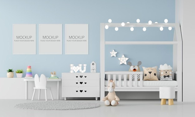 Blue child bedroom interior with frame mockup Premium Psd