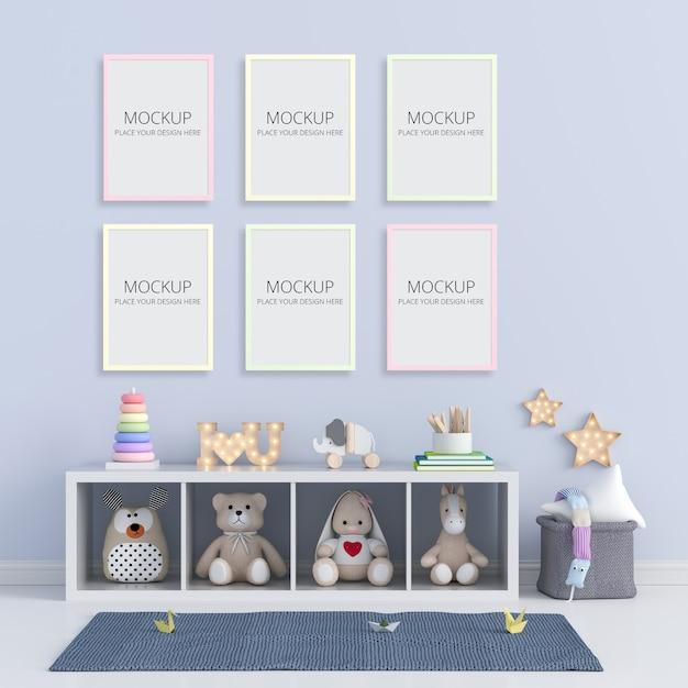 Blue child room with frame mockup Premium Psd