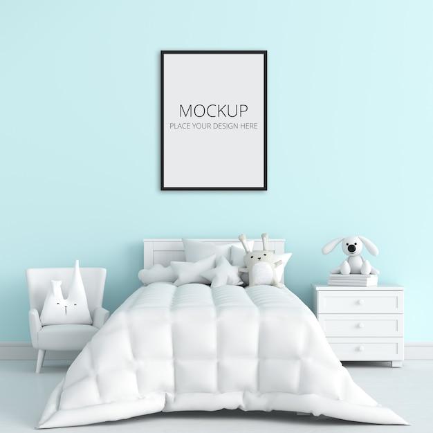 Синяя детская спальня с рамным макетом Premium Psd