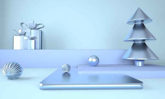 제품 표시를위한 크리스마스 트리와 무대와 블루 크리스마스 배경 프리미엄 PSD 파일