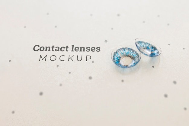 Blue contact lenses mock-up Free Psd