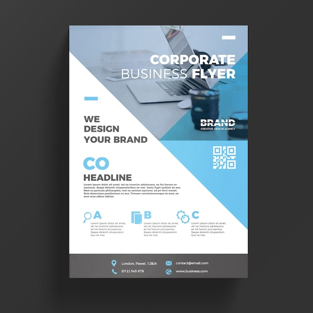 blue corporate business flyer template psd file free