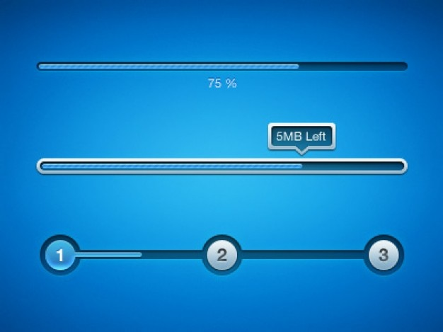 Blue download progress bar psd Free Psd