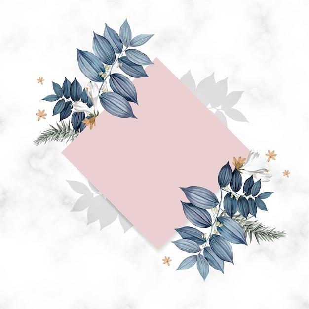 青い花柄空白の正方形のカードデザイン 無料 Psd