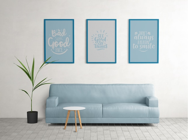 Blue framed posters in living room Free Psd